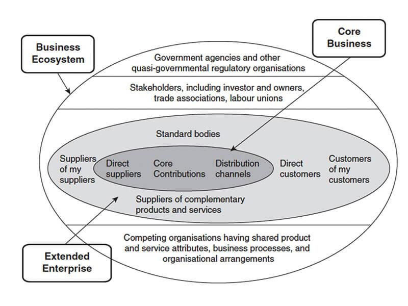 รูปที่ 3 ภาพรวมของ business ecosystem ที่มา : Moore (1996).